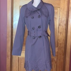Bebe Eyelet Belted Trench Coat Large NWT